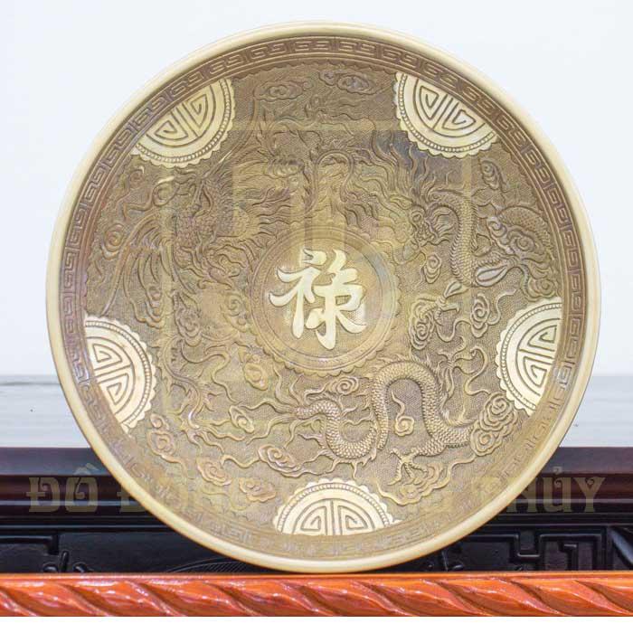 Mâm ngũ quả chữ phúc bằng đồng vàng cao cấp, tuổi thọ cao