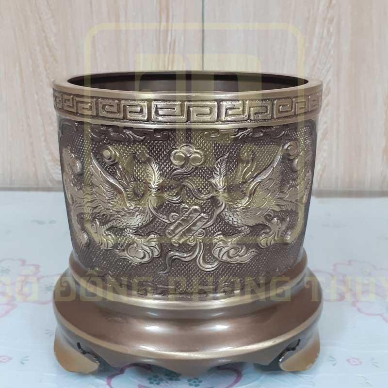 Bát hương bằng đồng Song Long Chầu Nguyệt